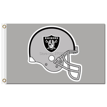 Oakland Raiders Шлем Серый Флаг Шлем Баннер World Series Футбольная Команда 3ft X 5ft Премиум Команда Oakland Raiders Флаг
